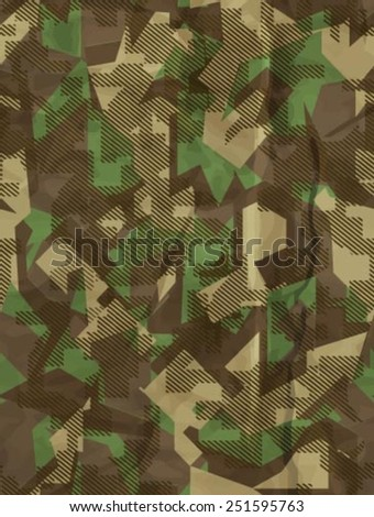 Seamless vector square camouflage series in the green scheme - stock vector