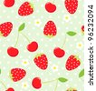Seamless vector strawberry and cherry pattern - stock vector