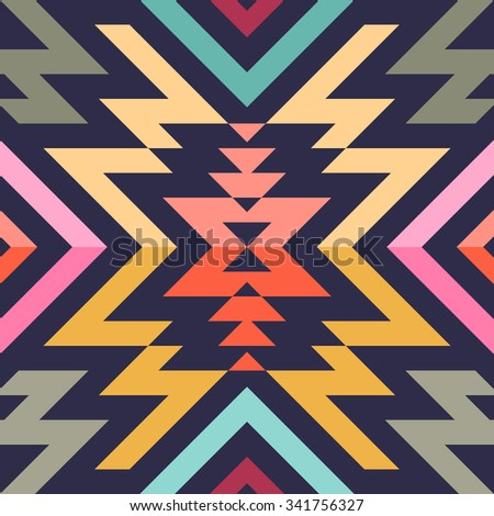 Seamless Vector Stripes Pattern for Textile Design. Stylish Modern Art. Psychedelic Mix of Rhombuses and Triangles - stock vector