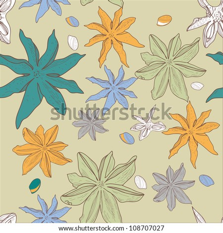 Seamless vector texture with anis - stock vector
