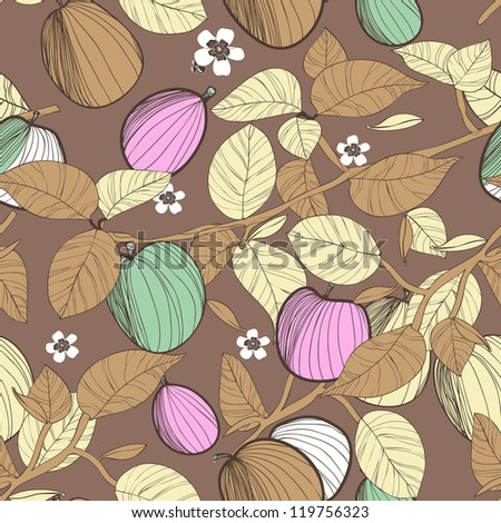 Seamless vector texture with drawing fruits and leafs - stock vector