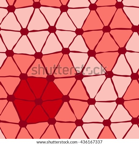 Seamless vector texture with red triangle tiles - stock vector