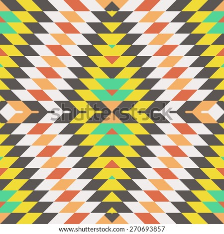 Seamless Vector Tribal Pattern for Textile Design. Geometrical Rhombus Background in Ethnic Style. Psychedelic Mix of Colorful Rhombus - stock vector