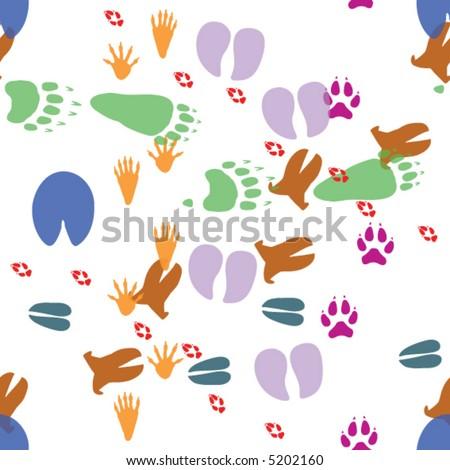Seamless vector wallpaper pattern of eight footprint tracks of wild animals in color:  cow, fox, raccoon, horse, deer, bear, wolf, boar. - stock vector