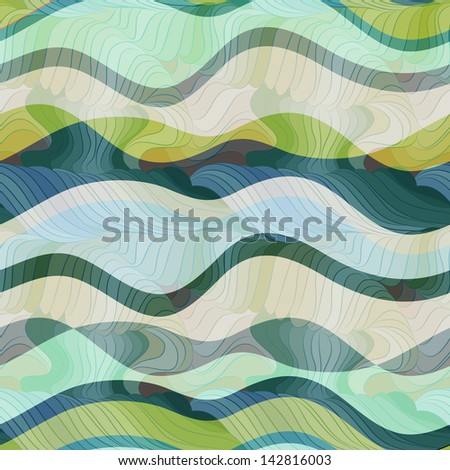 seamless vector waves texture - stock vector