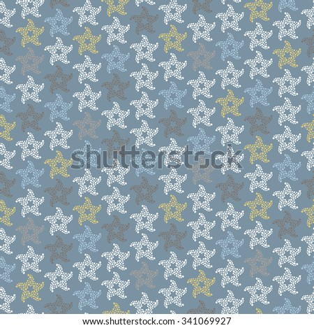 Seamless vector winter pattern with snowflakes. Part of Christmas backgrounds collection. Can be used for wallpaper, pattern fills, surface textures, scrapbooking, fabric prints.  - stock vector