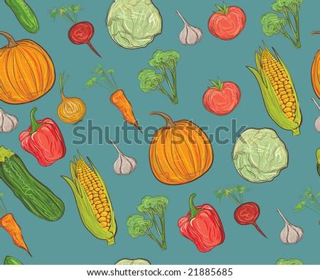 seamless vegetable pattern - stock vector