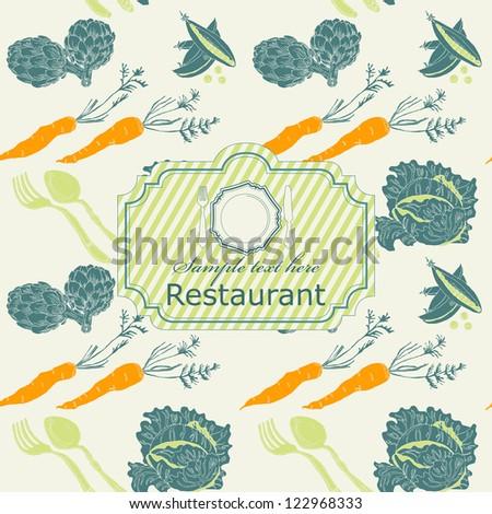 Seamless vegetable pattern with label in vector - stock vector