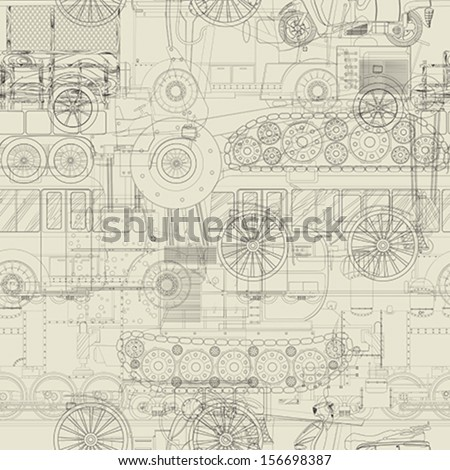 Seamless vehicles pattern, steampunk background - stock vector