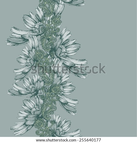 Seamless vertical pattern of decorative flowers hand-drawing. Vector illustration. - stock vector