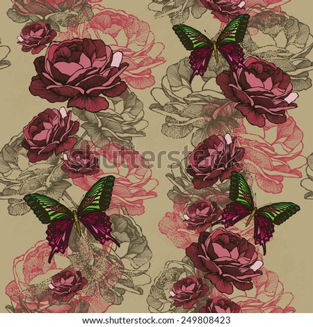 Seamless vertical pattern with roses and butterflies. Vector illustration. - stock vector