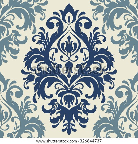 seamless victorian pattern in blue and beige. Tile - stock vector