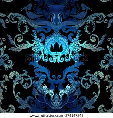 Seamless vintage background baroque pattern. Vector illustration. - stock vector