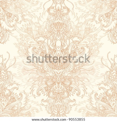 Seamless vintage background brown baroque pattern - stock vector