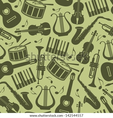 seamless vintage background with music instruments - stock vector