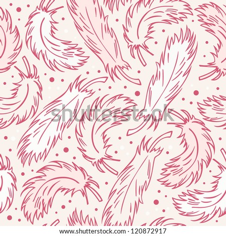 Seamless vintage background with plumes. Decorative abstract pattern with hand drawn feathers - stock vector