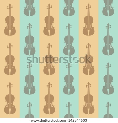 seamless vintage background with violins - stock vector