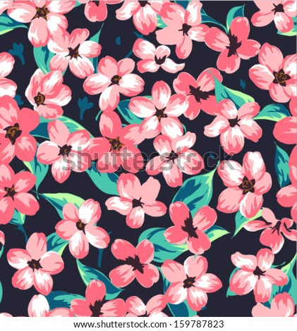 seamless vintage branch pattern background - stock vector