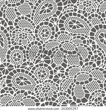 Seamless vintage fashion lace pattern with abstract flowers. - stock vector