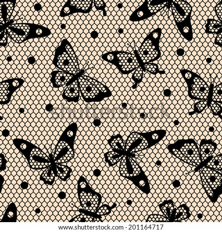 Seamless vintage fashion lace pattern with butterflies. - stock vector