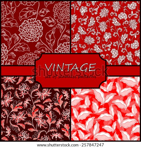 Seamless Vintage Floral Background Collection. Vector background for textile design. Wallpaper, background, repeating pattern. - stock vector