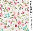 seamless vintage flower garden pattern background - stock vector