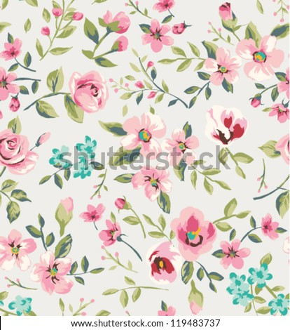 seamless vintage flower garden pattern background - stock vector