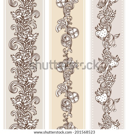 Seamless vintage fruits borders. Vertical borders for your design in sepia. Grape, raspberry, cherry, lemon and strawberry.  - stock vector
