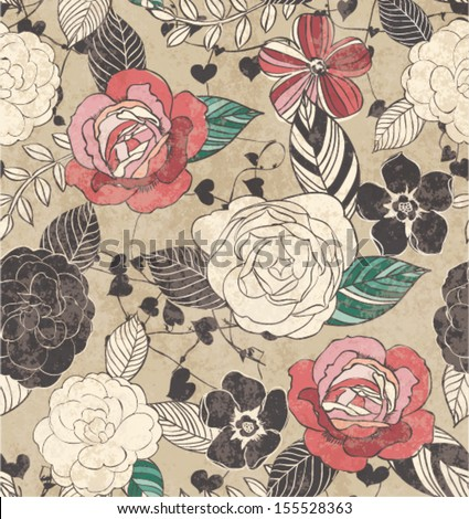 seamless vintage grunge sketch flower pattern background - stock vector