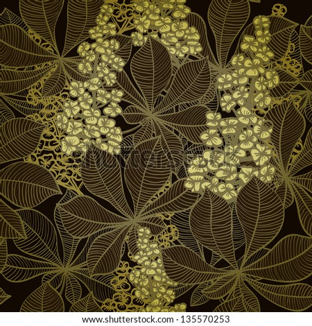 Seamless vintage hand drawn background with chestnut flowers. Eps10 - stock vector