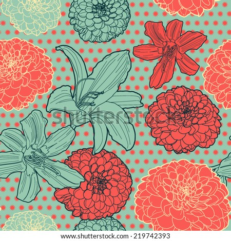 Seamless vintage japanese pattern with lily - stock vector
