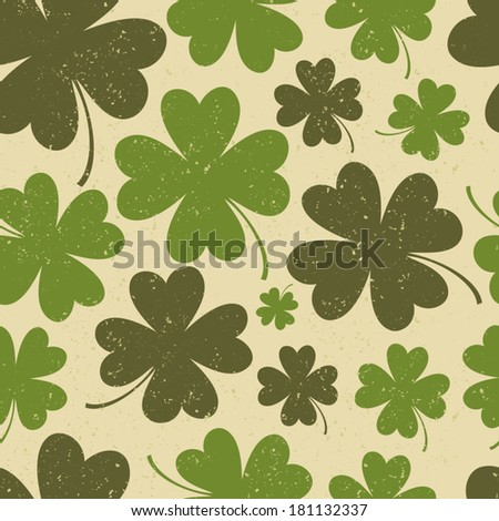Seamless vintage pattern for St. Patrick's day with four-leaf clovers. - stock vector
