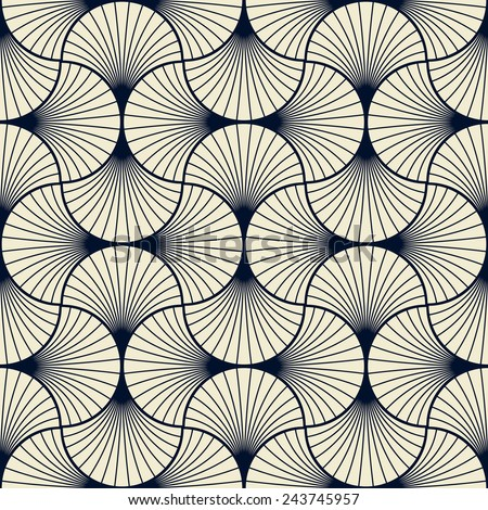 seamless vintage pattern of overlapping arcs in art deco style. - stock vector