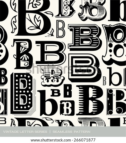 Seamless vintage pattern of the letter B - stock vector