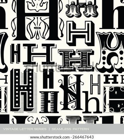 Seamless vintage pattern of the letter H - stock vector