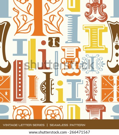 Seamless vintage pattern of the letter i in retro colors - stock vector