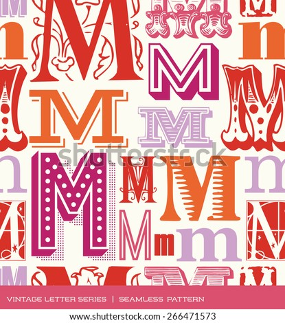 Seamless vintage pattern of the letter M in retro colors - stock vector