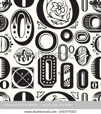 Seamless vintage pattern of the letter O - stock vector