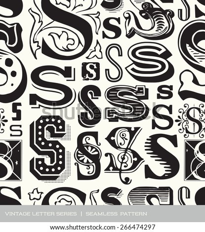 Seamless vintage pattern of the letter S  - stock vector