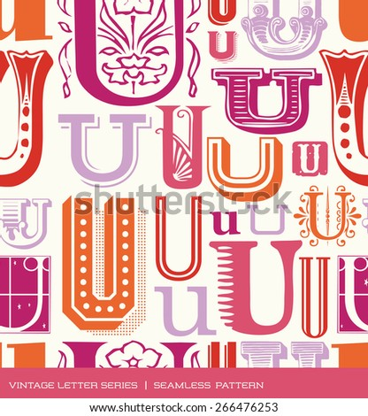 Seamless vintage pattern of the letter U in retro colors - stock vector