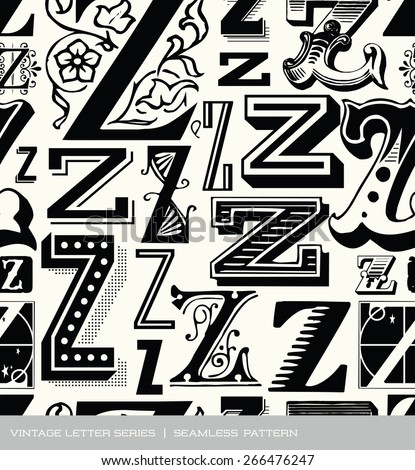 Seamless vintage pattern of the letter Z - stock vector