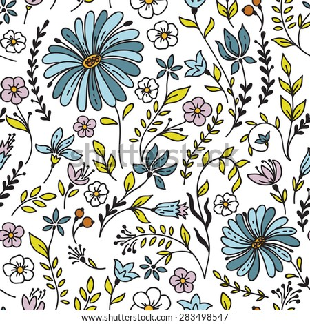 Seamless vintage pattern with camomile and flowers. Can be used for desktop wallpaper or frame for a wall hanging or poster,for pattern fills, surface textures, web page backgrounds, textile and more. - stock vector