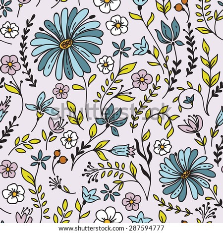Seamless vintage pattern with camomile. Can be used for desktop wallpaper or frame for a wall hanging or poster,for pattern fills, surface textures, web page backgrounds, textile and more. - stock vector