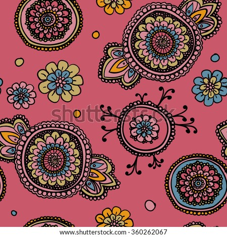 Seamless vintage pattern with floral motifs. Based on a traditional oriental textiles. - stock vector
