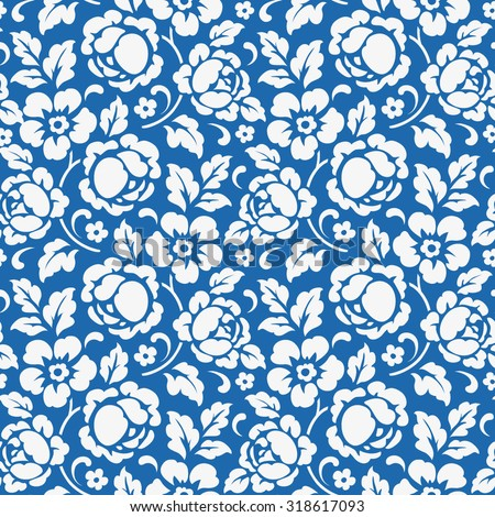 Seamless vintage pattern with flowers - stock vector