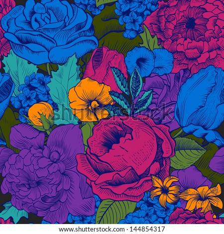 Seamless vintage pattern with lush colorful flowers - stock vector
