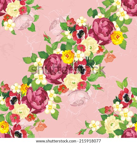 Seamless vintage peonies pattern. Beautiful flower vector illustration texture - stock vector