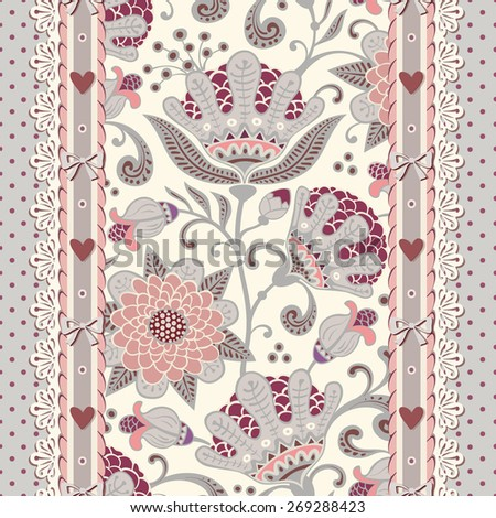 Seamless vintage polka dot background with flowers, laces and bows. Vector floral pattern. - stock vector