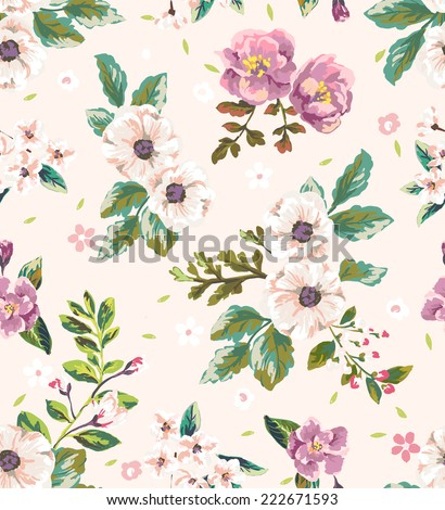 seamless vintage romantic flower vector pattern - stock vector