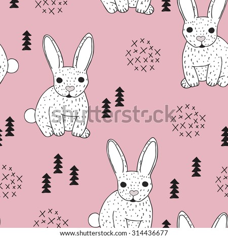 Seamless vintage style bunny kids illustration pattern adorable scandinavian style animal theme pink background pattern in vector - stock vector